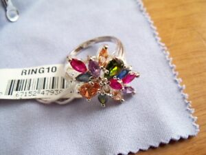 Multi Coloured Precious Stones Ring, Size 10, Silver, Brand New