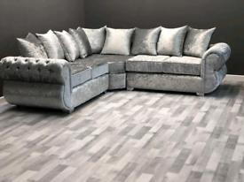Kingston Crushed Velvet Corner Or 3+2 Sofa Different Colors