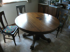 Tiger oak round table,chairs and buffet