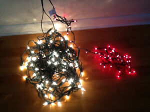 100 clear outdoor mini lights strand and 52 red indoor mini ligh