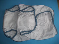 MED ADULT CLOTH A-I-O SNAP-ON DIAPERS 28 TO 38 + PLASTIC PANTS