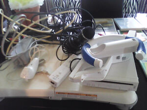 Nintendo  wii console  fit board   and accessories
