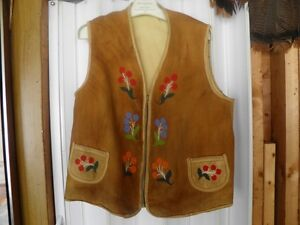 LEATHER NATIVE VEST WITH BEADWORK
