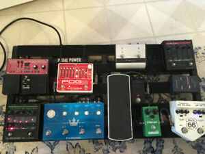 Guitar pedals and recording gear