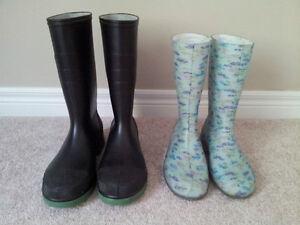 Rainboots: Woman's/Girl's Size 8 & Men's Size 10-Like New London Ontario image 1