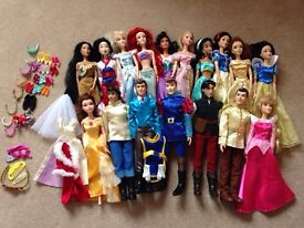 Collection of Disney princess and prince dolls