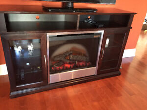 Entertainment TV stand with electric dimplex fireplace