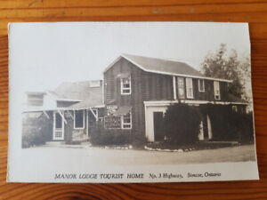 Manor Lodge Tourist Home, No. 3 Hwy Simcoe - vintage postcard