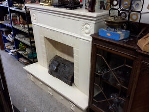 FIRE PLACE WITH INSERTS MARBLE LIKE  PLASTER ONLY $75.00