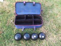 Henselite lawn bowls set with Acclaim bag
