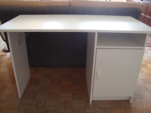 Excellent Ikea White Wood Computer / Workspace Desk with Shelves