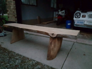Live edge wood bench