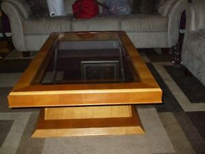 Solid wood with glass tops coffe and end tables