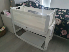 SnuzPod 2 Next To Me Bedside Cot - White - Great Condition