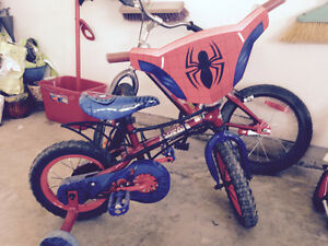 Spider-Man bike with training wheels on