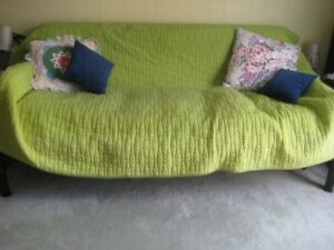 LIKE NEW METAL FUTON BED.  with mattress 78 X 42 X 33
