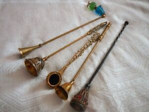 Vintage Brass Candle Flame Stoppers Snuffers set of 5