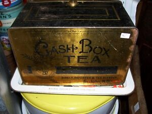 Antique Cash Box Tin