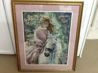 Beautiful Handmade Needlepoint Picture - Young Girl on Horse