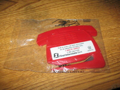 Vtg First Interstate Bank Letter Opener Push Button Phone Shape Red Nip Made Usa