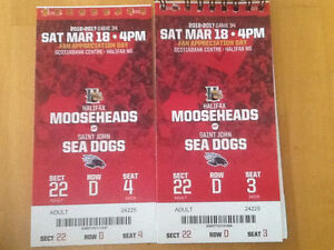 Mooseheads March 18th.  2 adult tickets