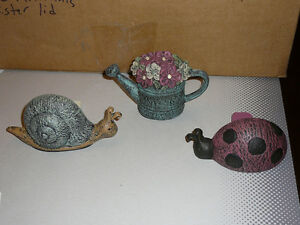 Painted, Cast-Iron Doorstops: Ladybug, Snail, Flower-pot, weight