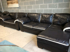 Brown Leather Corner Group Sofa and 2 Seater Sofa
