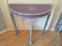 Rustic upcycled half moon table