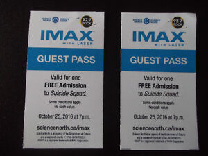 2 tickets to suicide squad imax 3d, oct 25 7 pm, $33.90 value