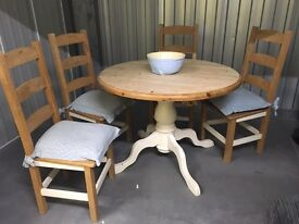 Table and 4 chairs wood shabby chic dining painted farmhouse