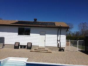 Solar swimming pool heater or cottage or camp