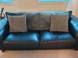 Black Leather Three and Two Seater Couches for Sale