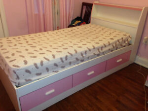 Single Pink And White Bed