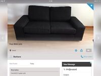 Large 2 seater sofa with 2 leather recliners