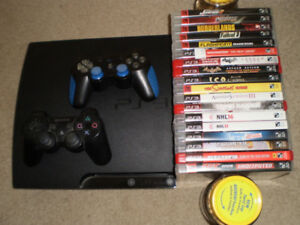PS3 c/w 18 games and 2 dual shock controllers