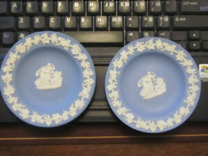 2 Vintage Wedgewood Blue Jasperware Mini Plate 4 3/8""