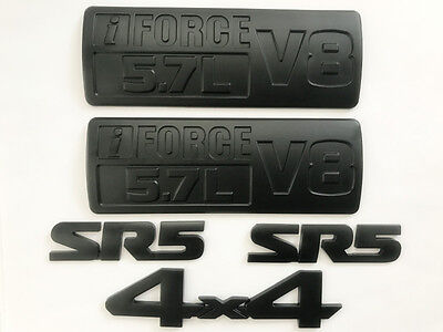 5X  All Black Metal TOYOTA TUNDRA SR5 i FORCE 57L V8 4 X 4 Fender Trunk EMBLEMS