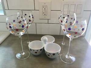 Pampered Chef wine glasses and bowl set