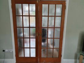 Double glazed pine doors