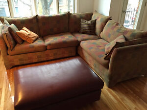 Jaymar couch, pleather ottoman and cushions great condition