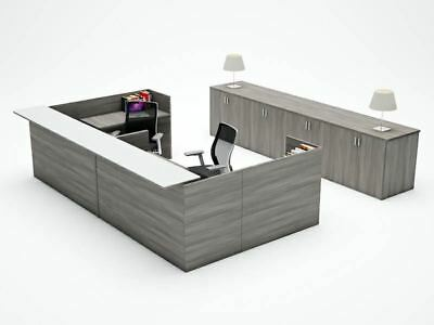 Amber U-shape Reception Office Desk Shell With Glass Counter - Valley Grey