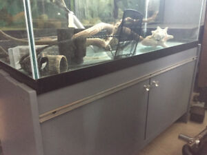 MEUBLE GRIS MODERNE + AQUARIUM 90 GALLONS EN BONNE CONDITION