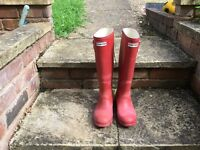 Hunter Red Wellington Boots Size 4