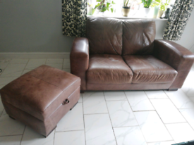 2 seater sofa brown leather