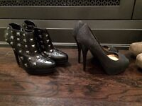 6 pairs of heels and leather boots size 38 - super cheap!!
