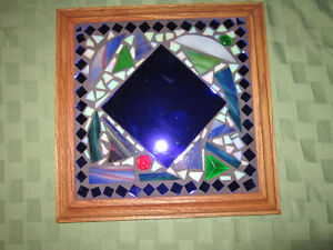 Mosaic - Stained Glass - Blue Mirror - with Wooden Frame