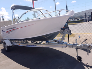 455 SAVAGE BAYCRUISER 60 HP 4 FOUR STROKE MERCURY BOAT TRAILER Capalaba Brisbane South East Preview