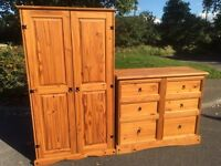 Solid pine wardrobe and chest set with possible delivery