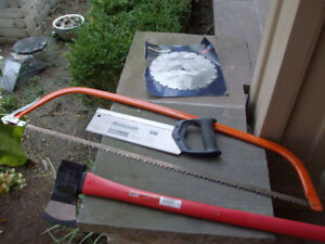 """LARGE  WOOD OR MEAT SAW, BACK SAW, NEW AXE, NEW 10"""" SAW  BLADE"""