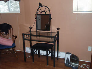 Antique wrought iron/glass Vanity table & chair(s) for sale.